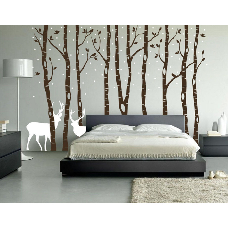POOMOO <font><b>Decals</b></font> xinda birch wall <font><b>decals</b></font> forest birds and deer vinyl stickers stick boy girl room removable nursery wall h108in