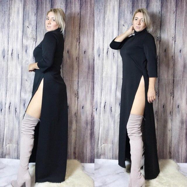 Women Fall Fashion Plus Size Dress Autumn Asymmetrical Turtleneck Pullover Fall Clothes Winter Oversize Maxi Long Dress Elegant 3