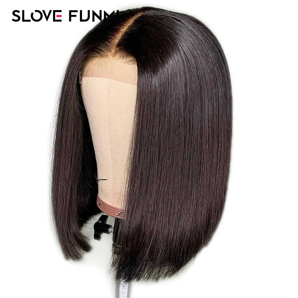Pre Plucked Human Hair Short Bob Wigs Brazilian Remy Hair Silky Straight Lace Front Human Hair Wigs For Women Slove Funmi Hair