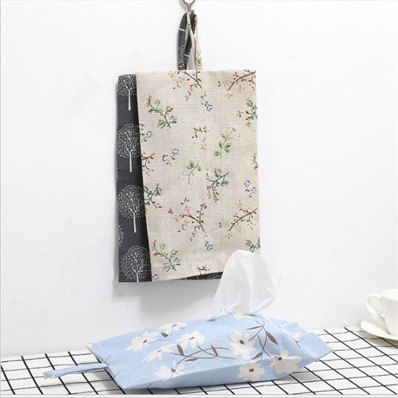 Tissue Storage Bag Cloth Paper towels bag Portable travel Linen tissue box cloth art For Household Living Room 30x18cm S20