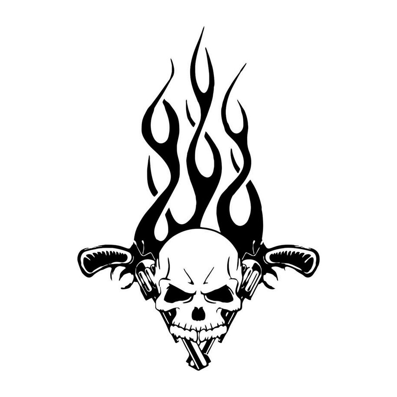 15.6*22см мода пользовательские пистолет череп пламя бампер стикер Этикеты винила, покрывающий корпус черный/серебро С7-0505