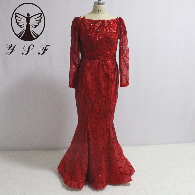 Fashion Red Boat Neck Long Sleeve Shine Sequin Lace Bling Bling Floor  Length Mermaid Evening Dresses c3578d619