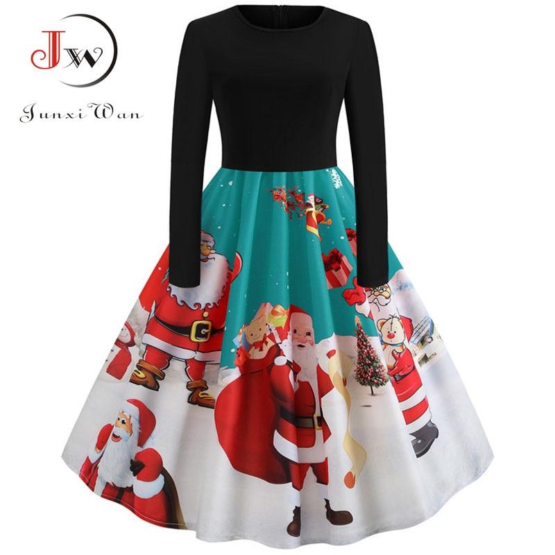 Winter Women Christmas Dress Long Sleeve Print Vintage Party Dress Elegant Black Patchwork Bodycon Dresses Vestidos Plus Size 8