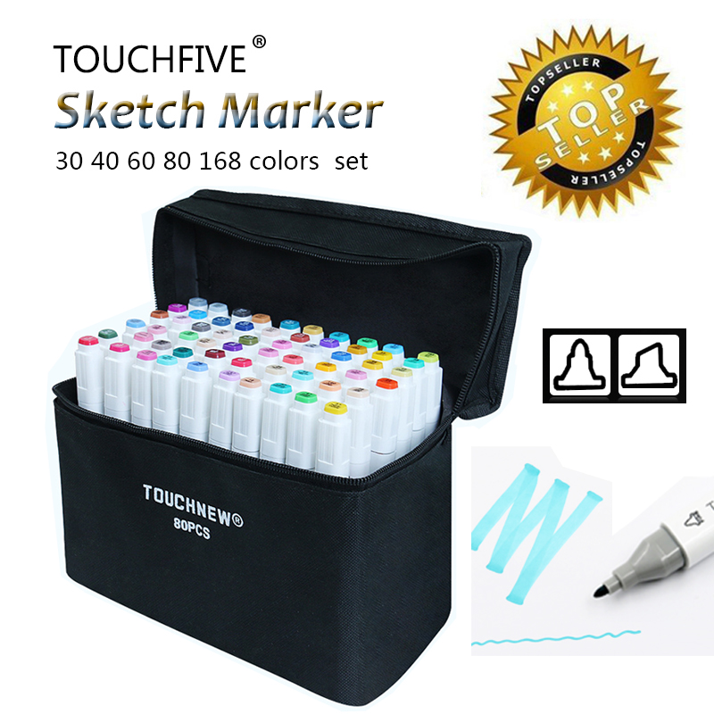 Marker for Animation Sketch drawing Art Markers Pen Set 30/40/60/80/168Color Dual Head Brush pen Alcohol based markers TouchFive double sidetouchliit 7 alcohol oil based marker full set 7 168color set in bags