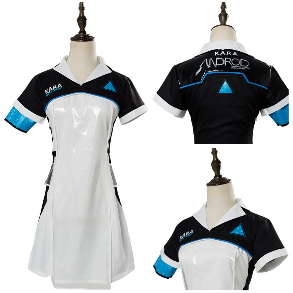 Cosplay Costume Detroit: Become Human Kara AX400 Cosplay Costume Android Uniform Dress+Apron Halloween Carnival Costumes