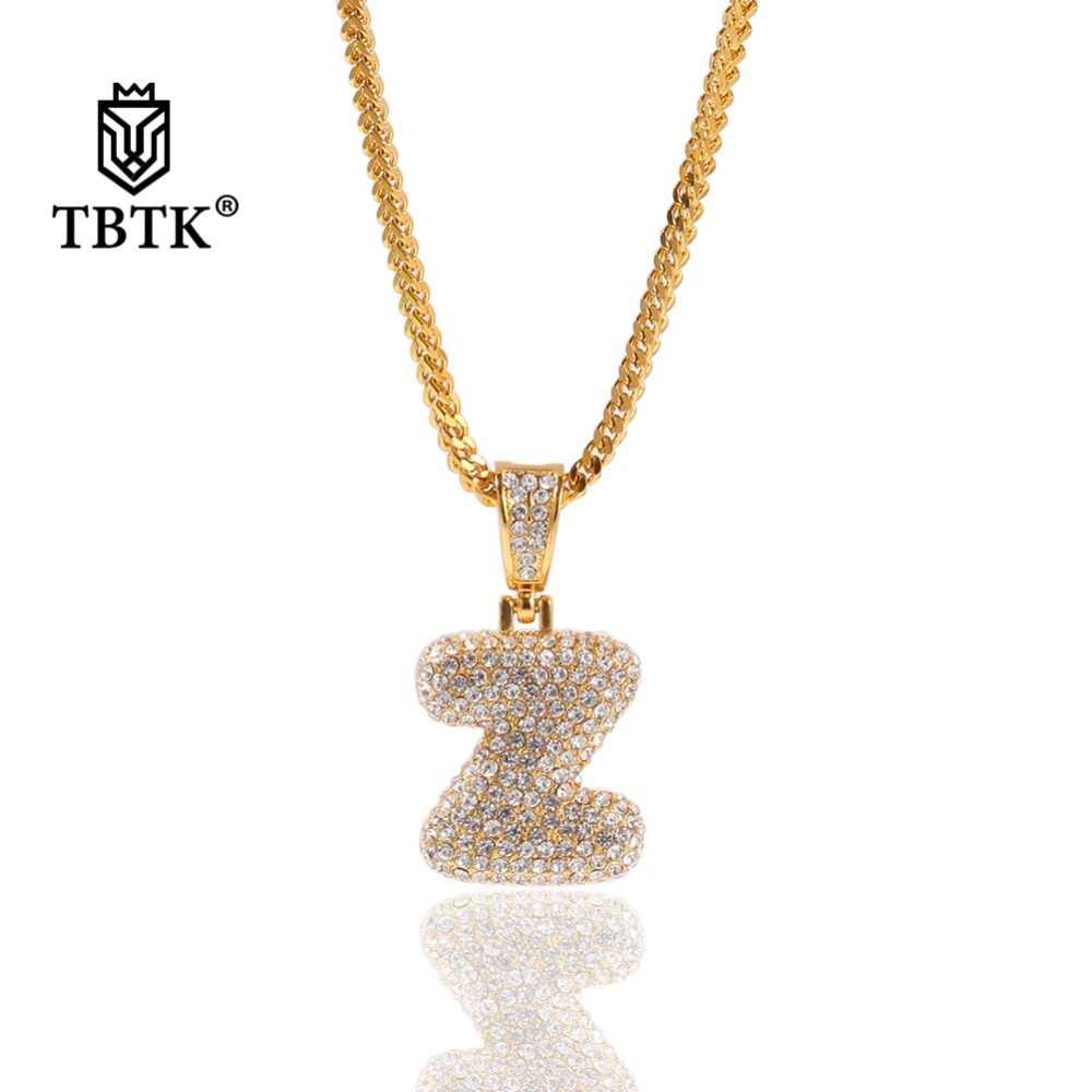 TBTK Custom Stainless Steel 26 Intial Letters Pendant Necklace Paved Bling Crystal Rhinestones Luxury Charm Jewelry Unisex Gifts