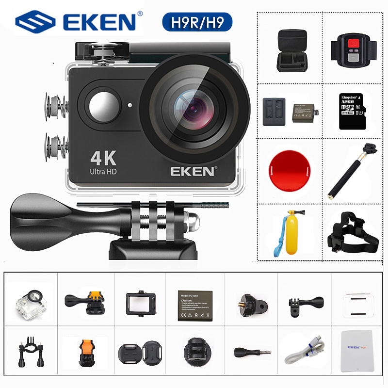 Original EKEN H9 H9R Action Camera 4K/30FPS 1080p/60fps 20MP Ultra HD  Mini Helmet Cam WiFi Waterproof Sports Camera(China)