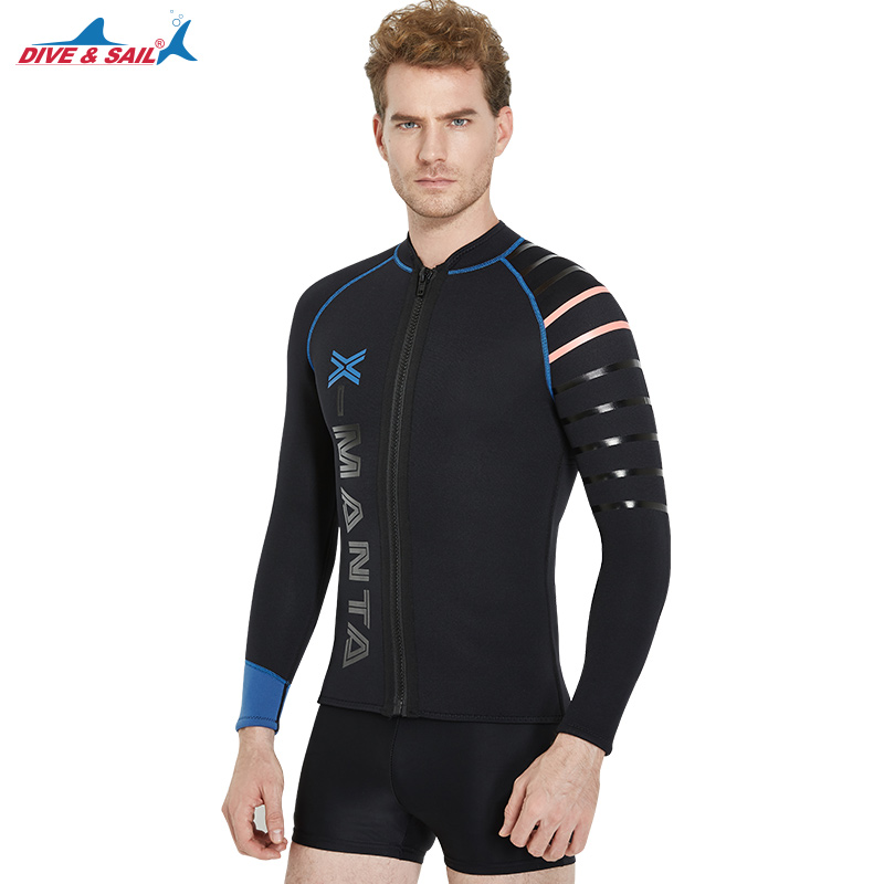 все цены на 3mm Neoprene Men's Wetsuit Jacket Front Long Sleeve Full Zip Top Cool Man Snorkeling Diving Sucba Wet Suit Black Dive & Sail