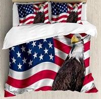 Орел постельное белье патриотической символикой земли с американским флагом с Белоголовый Орлан национализм, 4 шт. Постельное белье