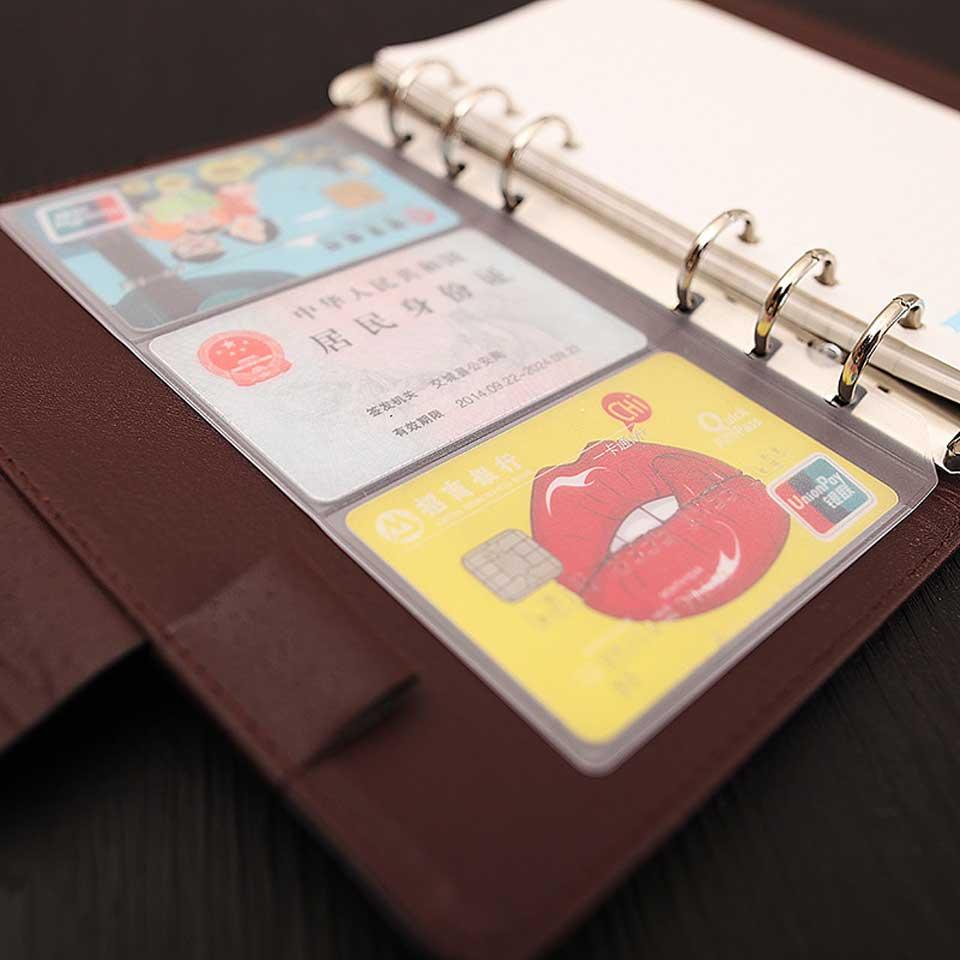 A5/A6 PVC Binder Folder Holder Zipper Index Divider Spiral Bag Storage File Card Pack For Notebook Journal Agenda Plannner