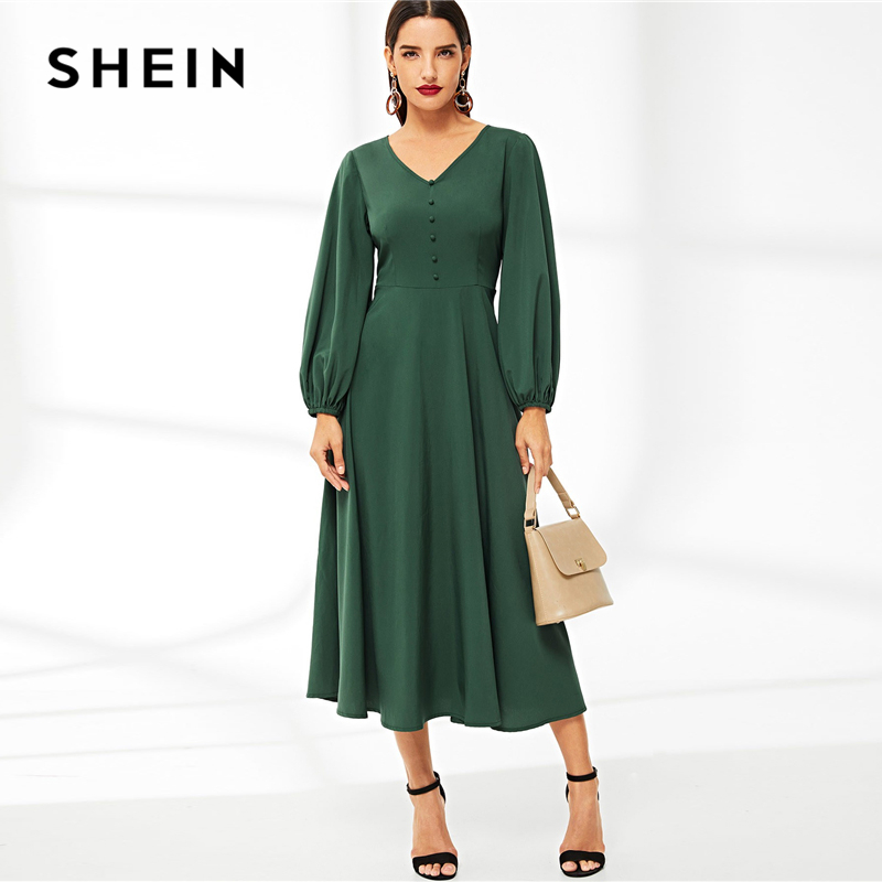 3f249b68c53b9 Hot Sale] SHEIN Abaya Green V Neck Button Detail Lantern Sleeve ...