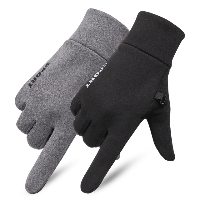 SHOUHOU Men Autumn Winter Warm Lining Gloves Touch Screen Proof Water Gloves Riding Cycling Traveling Gloves