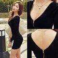 Женская осень на средние и длинные тонкие бедра длинными рукавами основной черный тонкий цельный платье женщина