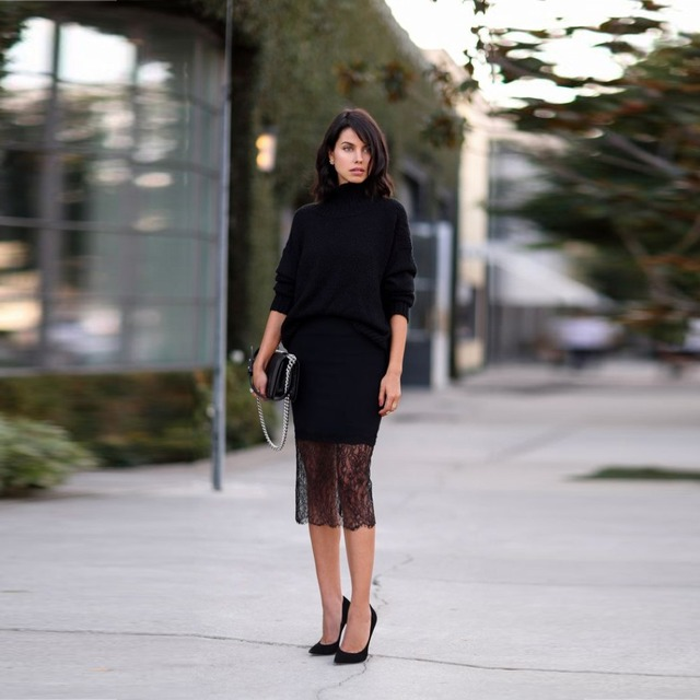 Top Fashion Street Style Skirt Black Lace Pencil Mid Calf Sheath Midi Skirt Work Outfits