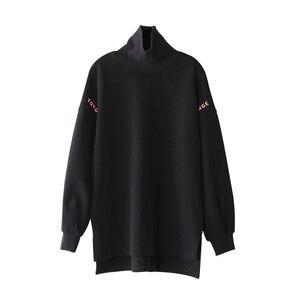 Image 5 - Toyouth Sudadera larga con capucha para mujer, suéter informal con letra de Color sólido bordado, suéter de cuello alto, sudaderas holgadas para mujer 2019