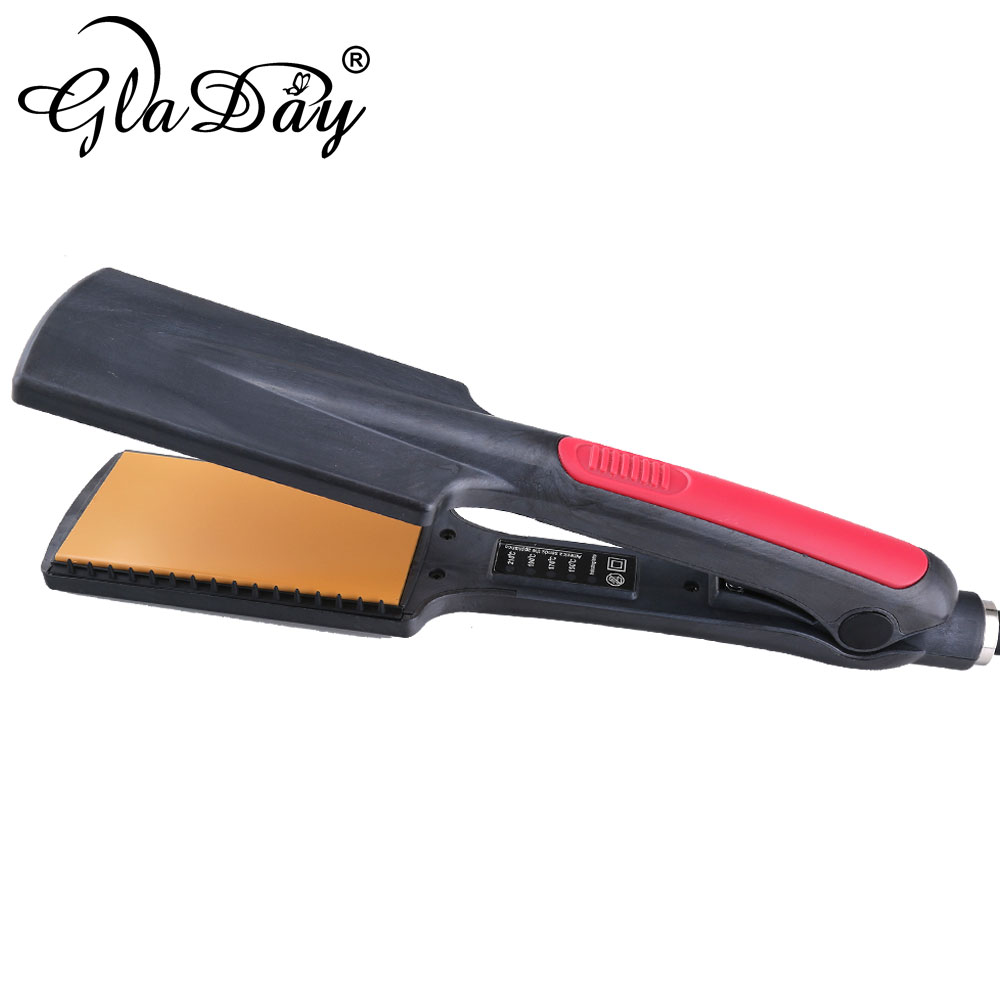 Professional Fast Heating Ceramic Hair Straightener Wide Flat Iron Thermoregulator Hair Straightening Irons Styling Tool 4 in 1 hair flat iron ceramic fast heating hair straightener straightening corn wide wave plate curling hair curler styling tool