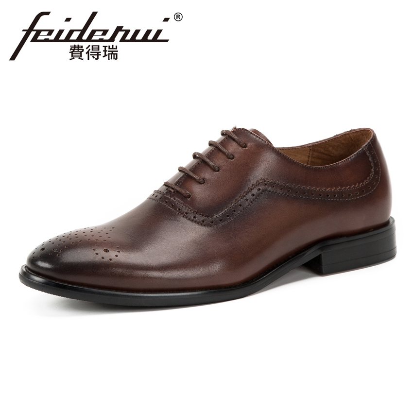 2018 Genuine Leather Handmade Men's Breathable Wedding Oxfords Pointed Toe Carved Man Formal Dress Banquet Brogue Shoes KUD162 цена и фото