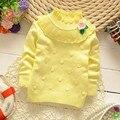 Moda Ropa de Bebé Niña Suéter de Color Color de La Flor Camisa de Algodón de Cuello Alto