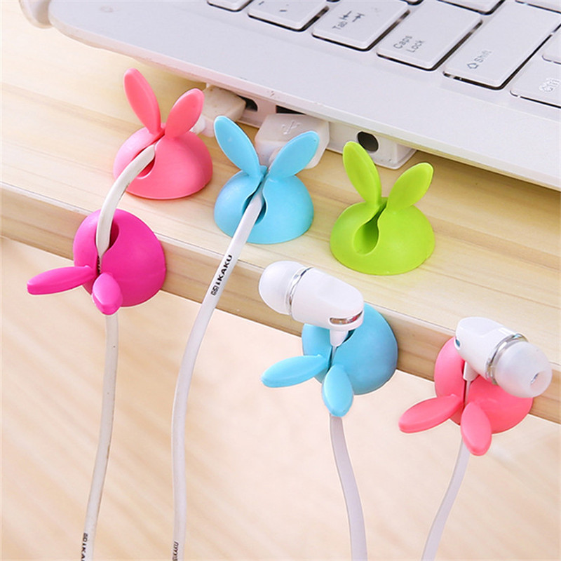 SIANCS-2PCS-Cute-Rabbit-Clip-Earphone-Cable-Winder-Bobbin-clamp-protector-USB-Cable-Ties-Organizer