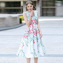 f613cfd3ef56b3 XF Hawaii Strand Urlaub Partei Milan Mode Rose Blume Drucken Ärmellose Hohe  Taille Schlank Große 2019 Sommer Kleid