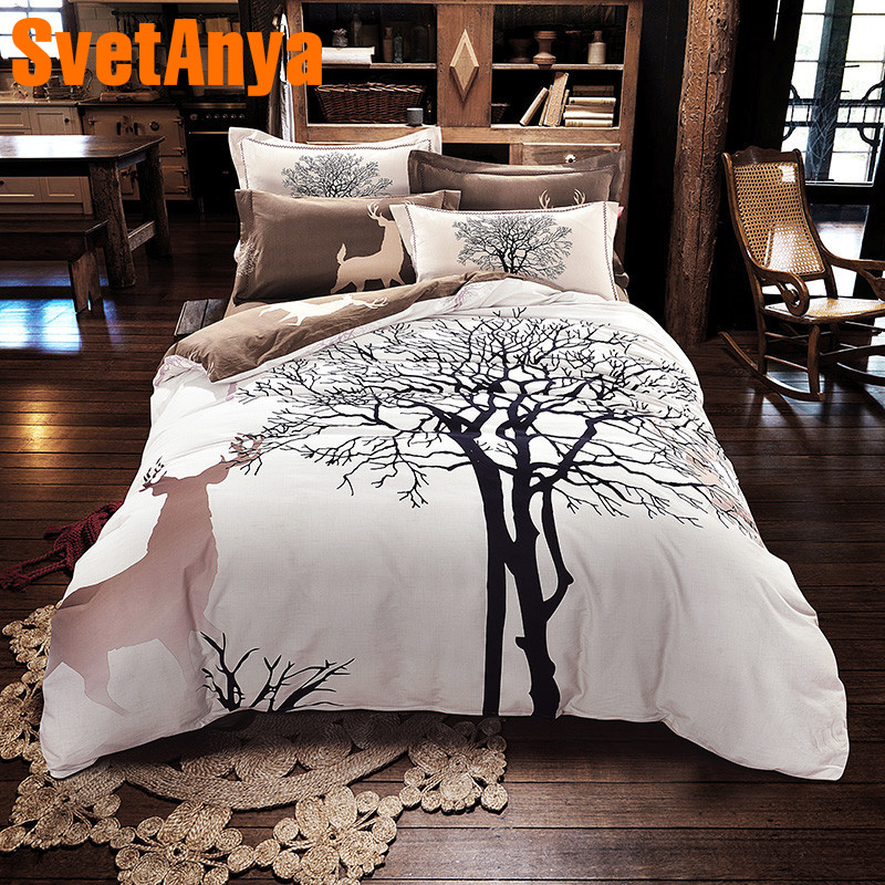 Jardin style arbres cerfs 4 pcs linge de lit de haute qualité épais ponçage coton Reine/Roi Taille housse de couette + plat feuille + taies d'oreiller