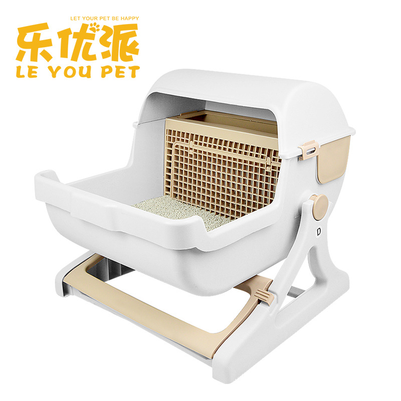 Pet Supplies Factory Direct Sale Large Semi-automatic Cat Toilet Pet Toilet Semi-closed Cat Litter Basin Self Cleaning Cat Box 翻轉 貓 砂 盆