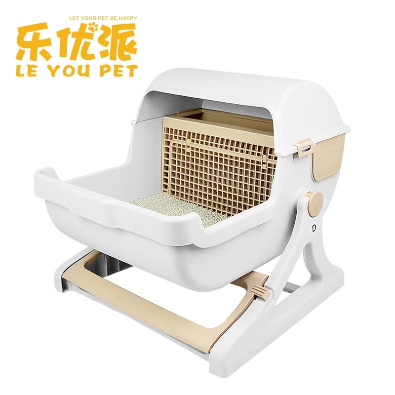 Pet Supplies Factory Direct Sale Large Semi-automatic Cat Toilet Pet Toilet Semi-closed Cat Litter Basin Self Cleaning Cat Box