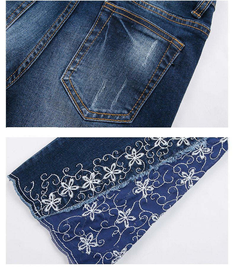 KSTUN FERZIGE New Jeans Woman Embroidered Trousers Lace Bell Bottoms Design Light Blue Stretch High Waisted Jeans Sexy Ladies Mujer 36 27