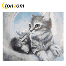 RIHE Cat Diy Painting By Numbers Cement Pipe Oil Painting On Canvas Hand Painted Cuadros Decoracion Acrylic Paint Home Art майка hazels белый 46 размер