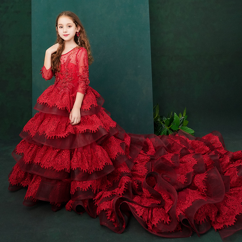 Gorgeous Royal Children 39 s Princess Trailing Girls Wedding Party Fluffy Flower Girl Costumes Host Evening Dress Catwalk Show in Dresses from Mother amp Kids