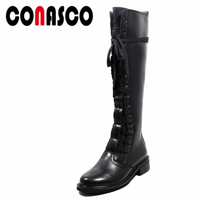 CONASCO Fashion New Women Knee High Boots Thick High Heels Genuine Leather Long Snow Boots Ladies Lace Up High Motorcycle Boots
