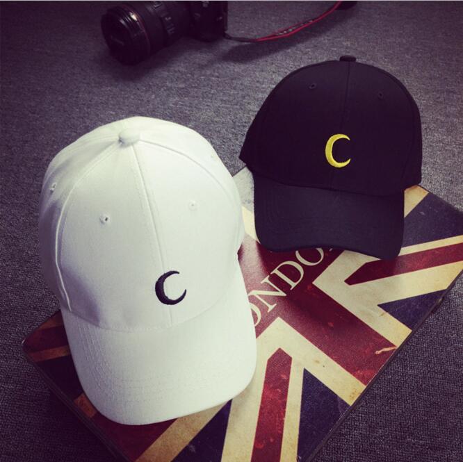Venta caliente letra C gorra de algodón ajustable gorra de golf de verano gorra de hip hop casquillo ocasional del sol para las niñas niños bordado luna sombrero