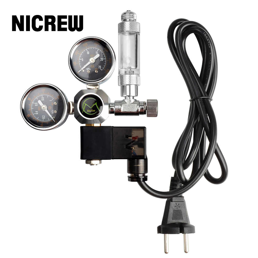NICREW Aquarium CO2 Regulator With Check Valve Bubble Counter Magnetic Solenoid Valve Aquarium CO2 Pressure-reducing Valve