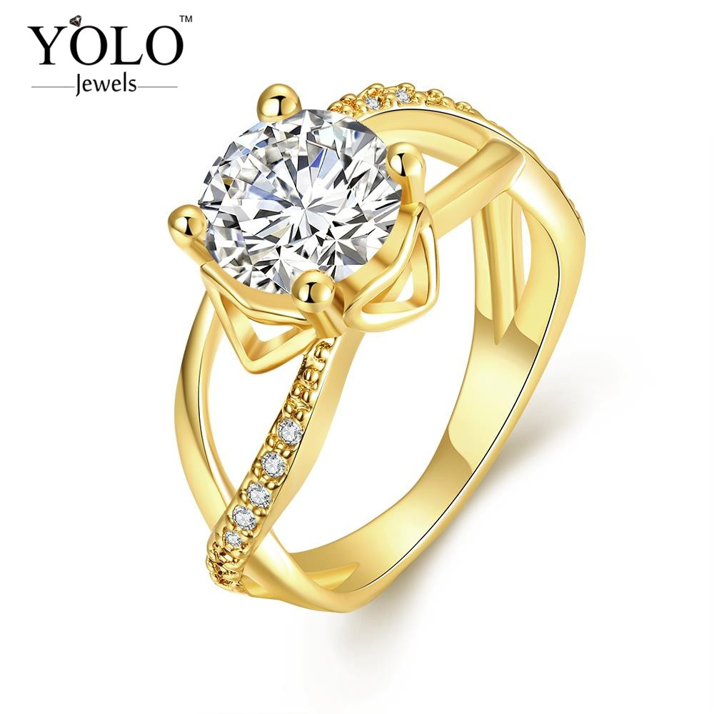 Hollow Style Zircon Vintage Luxury Women Ring big zircon for Lover Gift to mother or wife also for Cocktail Party with 18KGRP