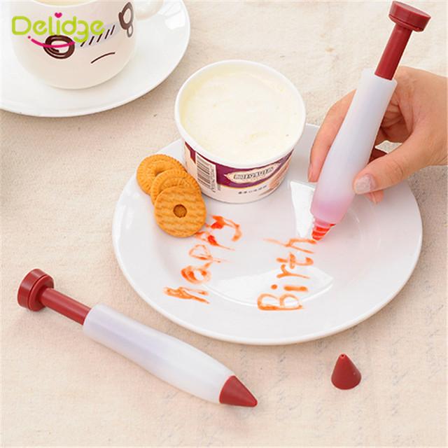 Delidge 1PC Dessert Decorator Pen Pastry Icing Cream Chocolate Cake Decorating Tools Cupcake Biscuit Bakeware Decorating Drawing