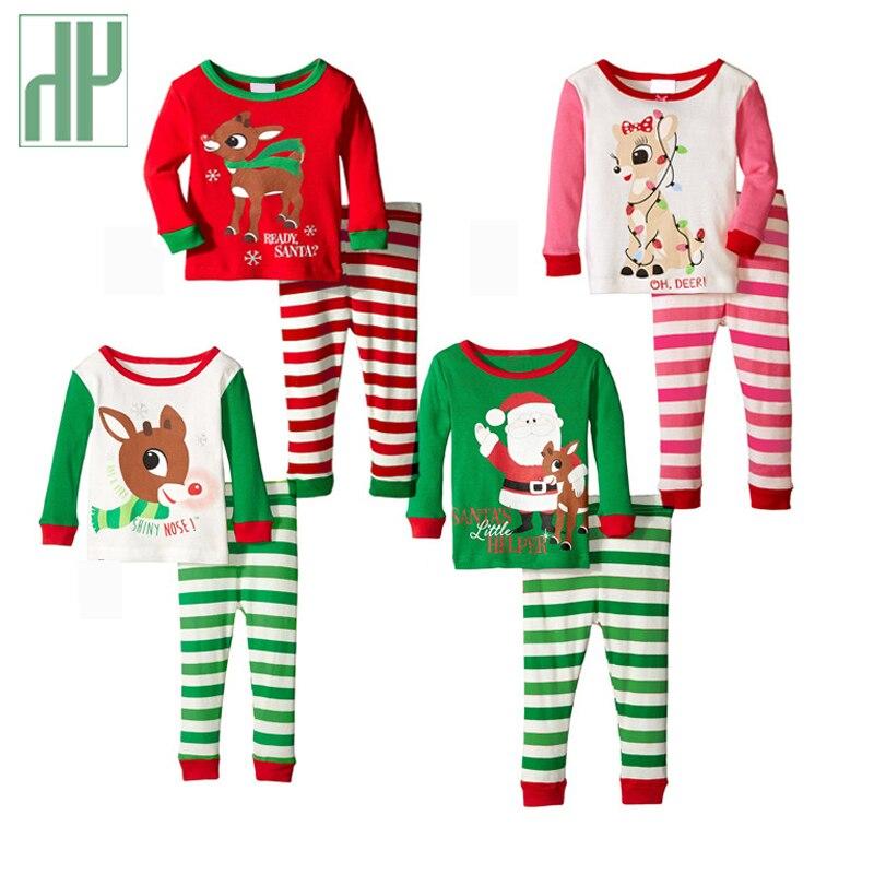 От 1 до 4 лет Детская одежда Рождественская Пижама пуловер в полоску Повседневное малышей комплект одежды для мальчиков для девочек наряды для нового года костюм