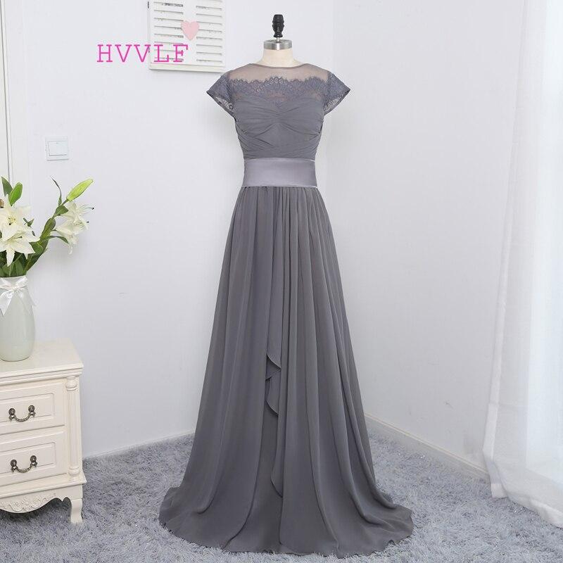 Hot Sale 2019 A-line High Collar Cap Sleeves Gray Chiffon Long   Bridesmaid     Dresses   Cheap Under 50 Wedding Party   Dresses