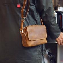 AETOO Mens leather shoulder bag simple cowhide crossbody bag male bag Japanese casual pack