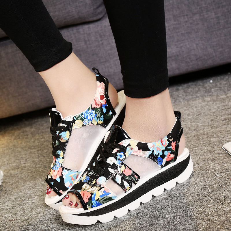 Lucyever 2018 Summer Women Platform Sandals Open Toe Wedge Thick Bottom Casual Shoes Woman Lace Up Breathable Mesh Sandals women flat wedge espadrille sandals lace tie up platform summer beach shoes lxx9