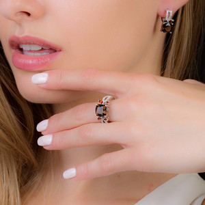 Image 2 - Gems ballet 스모키 쿼츠 925 스털링 실버 천연 보석 반지 여성을위한 결혼 약혼 럭셔리 고급 의상 쥬얼리