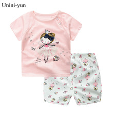Summer Princess Baby Girl Clothes Newborn Clothing Pink Tshirt Outfits for Kids Newborn Baby Girl Clothes Baby Clothes Boy cheap Unini-yun COTTON Fashion O-Neck Sets Pullover Short REGULAR Fits true to size take your normal size Worsted Coat cartoon