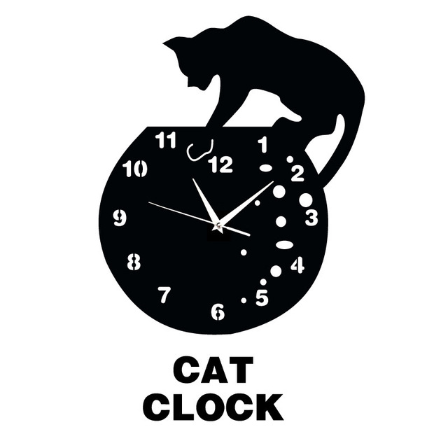 Home furnishings wall stickers acrylic wall clock craft clock black cartoon  cat fishing craft wall clock. Aliexpress com   Buy Home furnishings wall stickers acrylic wall