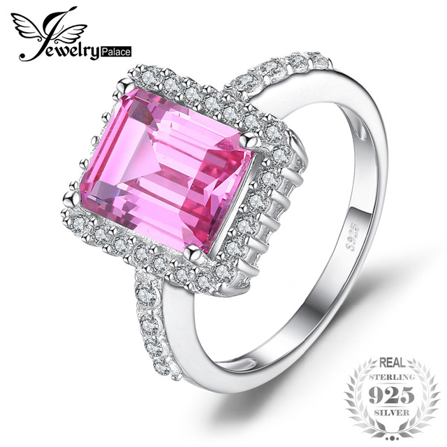 JewelryPalace luxury 4.88ct Created Pink Sapphire Cocktail Ring 925 Sterling Sil