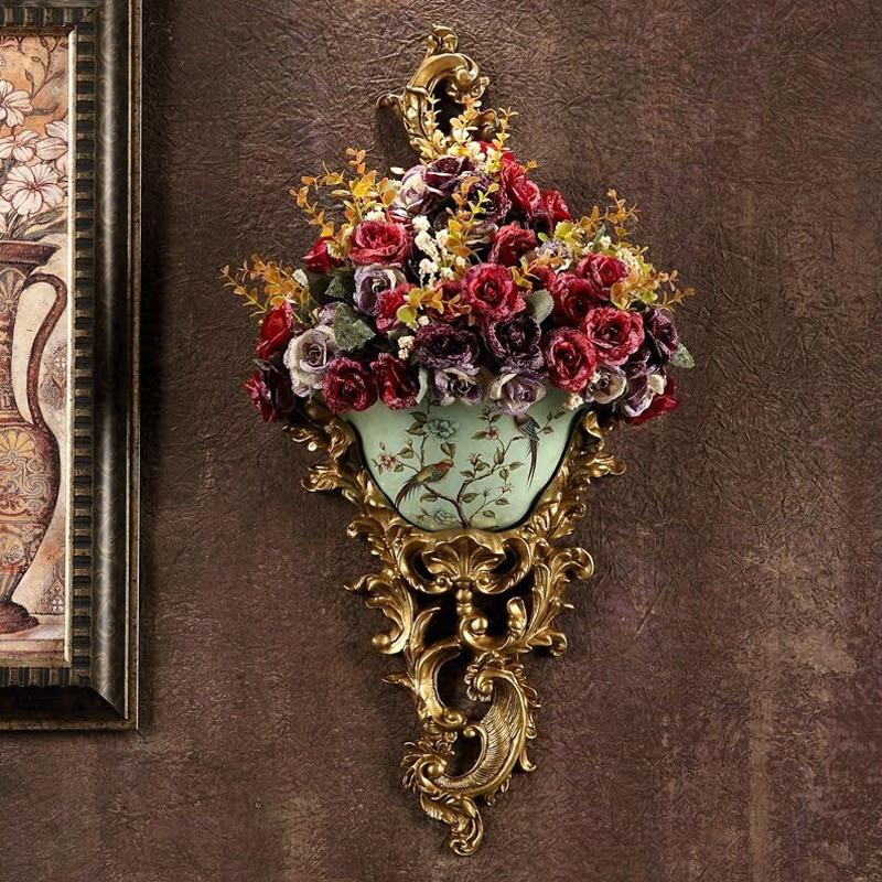 European Ancient Wall Hanging Resin Vase Creative Bar Home Luxury Wall Retro Mural Flowers Basket Ornament Livingroom Crafts Art