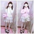 Bonito Ice-Cream Cor Suave da Pele Do Falso das Mulheres de Manga Comprida Camisola Pullover Inverno Quente Camisa Undershirt Tops Rosa & White