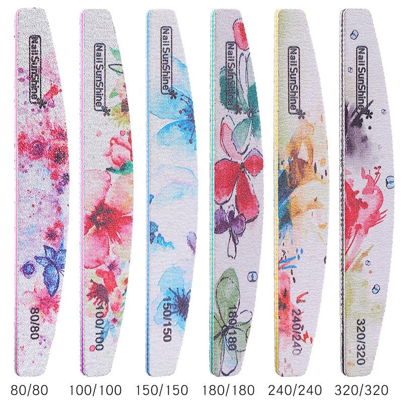 100pcs Nail Buffing Files Printed Flower 80 100 150 180 240 320 Half Moon Sandpaper Polished Nail Art File DIY Nail Salon Tool in Nail Files Buffers from Beauty Health