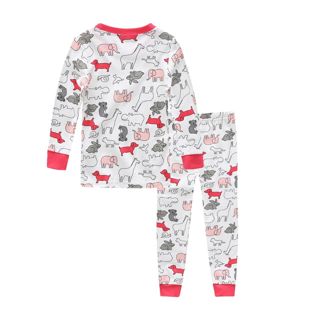 100 cotton Baby boys pajamas girls cartoon sleepwear animal kids pyjamas sets baby cotton nightwear long sleeves tops pant sets in Pajama Sets from Mother Kids