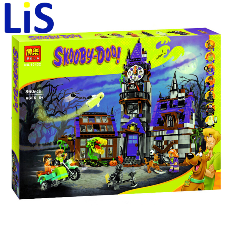 Lis Bela 10432 Scooby Doo Mysterious Ghost House Building Block Toys Christmas gift toy Lepin bela 10429 scooby doo mummy museum mysterious plane minifigures building block minifigure toys best legoelieds toys