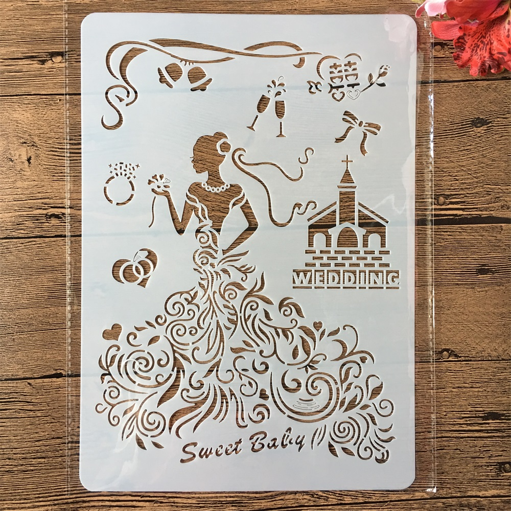 A4 Wedding Party Bride Dress DIY Craft Layering Stencils Painting Scrapbooking Stamping Embossing Album Paper Card Template