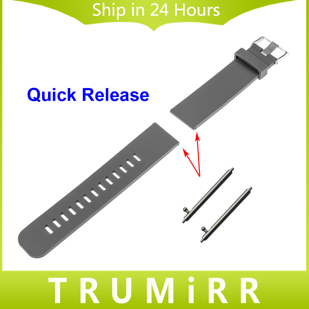 Prix pour Libération rapide Bande De Caoutchouc De Silicone pour Asus Zenwatch 1 2 22mm Pebble Temps Acier LG G Watch W100 W110 Urbane W150 Sangle Bracelet